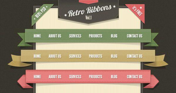Retro Web Ribbons Vintage Psd Pack