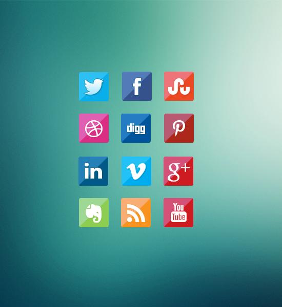 Subtle Glossy Fade social media icons set