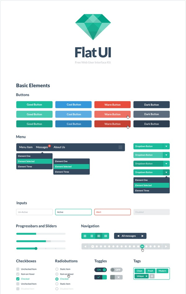 Flat UI Free – PSD&HTML User Interface Kit