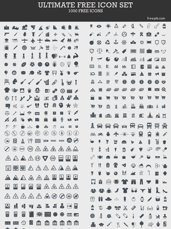 Ultimate Free Icon Set: 1000 Free Icons (by Freepik.com)