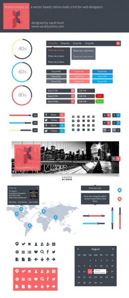 Featherweight UI – A free, vector based and retina ready UI kit