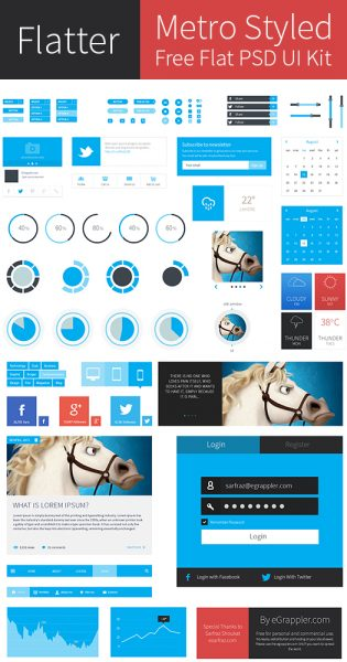 Metro Style Free Flat User Interface Kit (PSD)