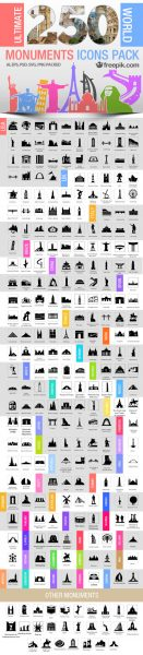 250 Ultimate World Monuments Icon Pack by Freepik