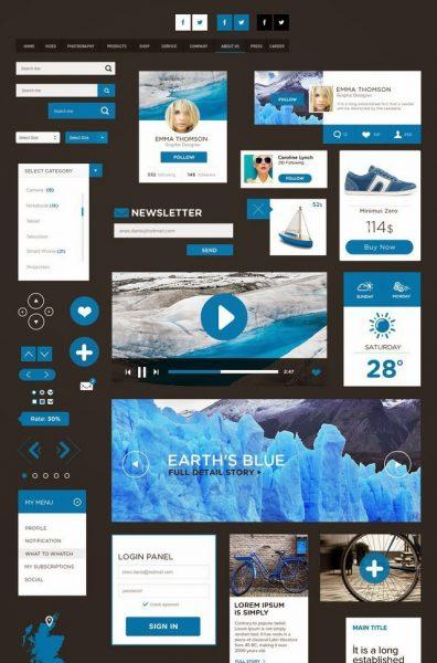 The Flat Design UI Pack (PSD)