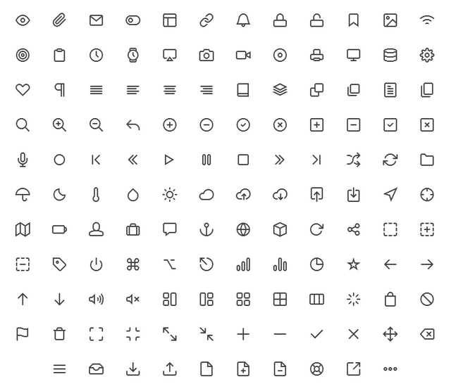 Feather icons set: 130 free simple icons