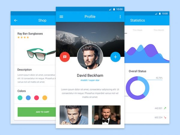Free Material Design mobile UI PSD kit